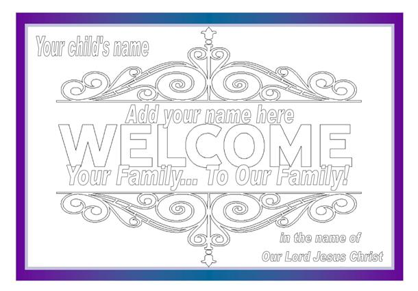 Welcome to our Family colouring page
