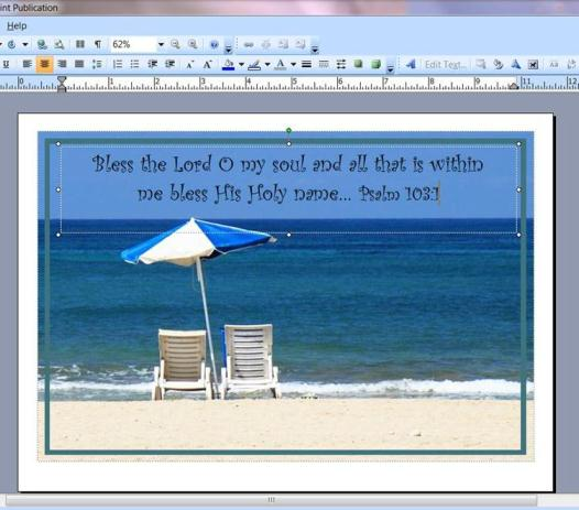 Beach scene with frame and text