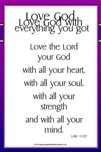 Bible verse card Luke 10:27; free printable