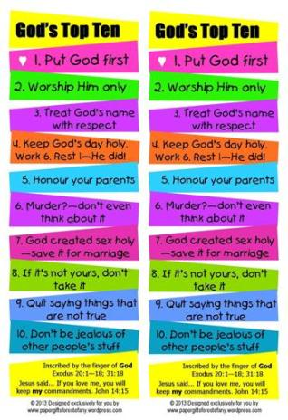 God's Top 10 ~ 10 commandments free printable bookmark for kids 4x6