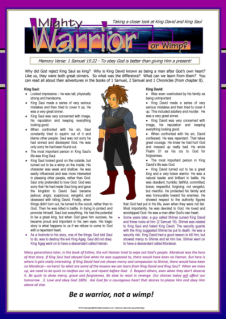 PGFE Warrior & Wimp Article for kids about King David & King Saul; free printable