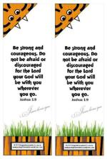 Tiger free printable bookmark for kids with Bible verse from Joshua 1:9