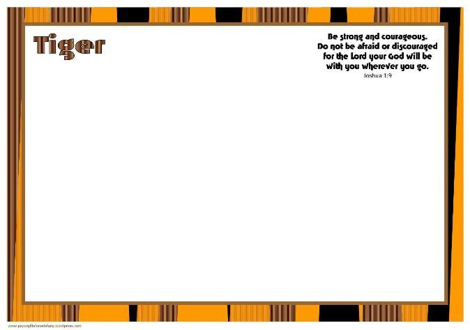 Tiger Colouring Frame A4