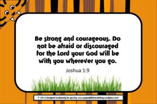 Tiger free printable verse card with Bible verse Joshua 1:9