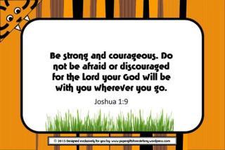 Tiger free printable verse card with Bible verse Joshua 1:9