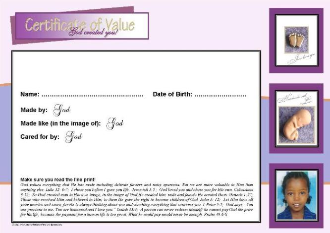 Baby in Womb Certificate of Value A4