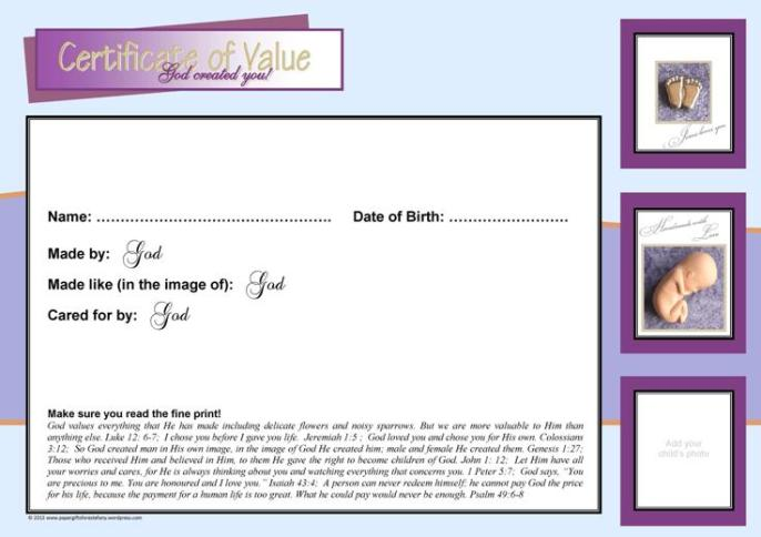 Baby in Womb Certificate of Value2
