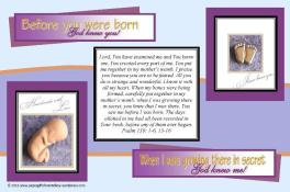 Baby in Womb Bible verse card for boys; free printable