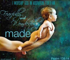 Darrell Creswell baby held in bigger hand with Bible verse from Psalm 139:14