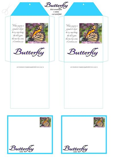 Butterfly mini envelopes+notes A4