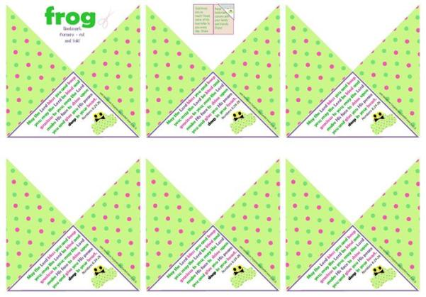 Frog Bookmark Corners A4