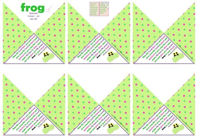Frog Bookmark Corners A4