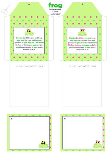 Frog mini envelopes + notes A4