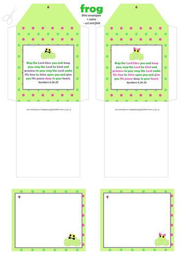 Frog mini envelopes + notes A4