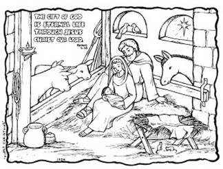 The Gift of God - Nativity colouring; Mary holding Baby Jesus, Joseph sitting directly behind her and animals looking on; star through stable window; free printable