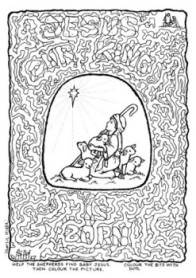 Jesus our King is Born – colouring; shepherd boy and sheep looking up at the star; free printable
