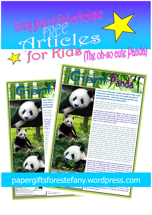 Panda article for kids giving glory to God as designer; free printable