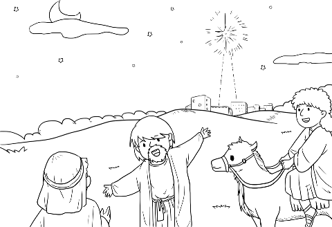 Christmas Nativity colouring; magi pointing to the star; free printable
