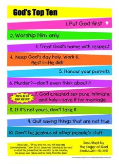 Moses and Gods Top 10 Poster for kids; 10 commandments; free printable