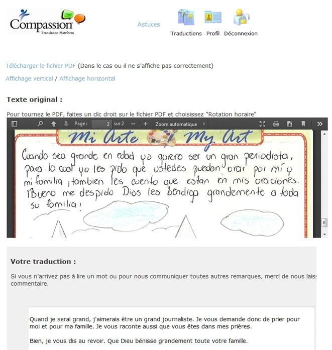 Compassion letter translation process