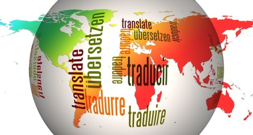world globe with the word translate in various languages