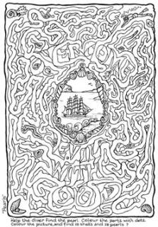 Bible treasure - Pearl Diver free printable Puzzle dive through the maze to find the pearl - based on Romans 12:21 (overcome evil with good)