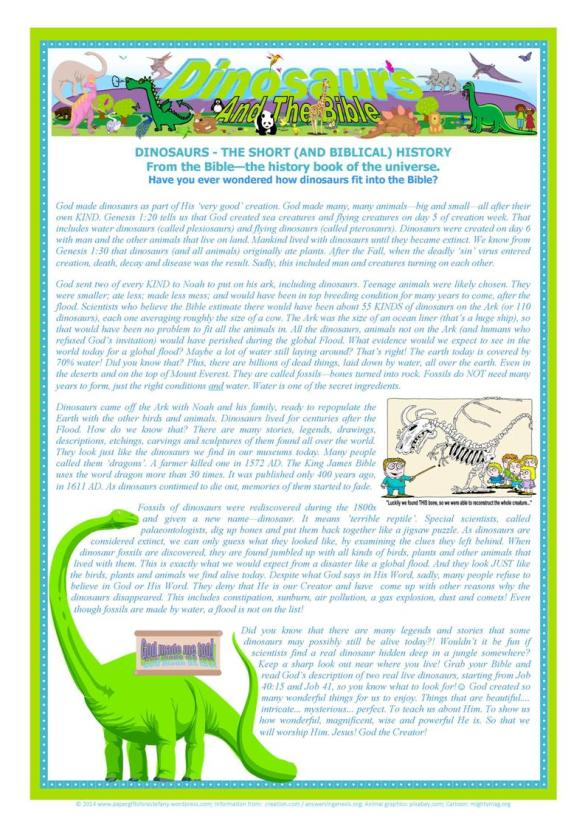 Dinosaurs and The Bible ~ FREE Article for Kids | Paper ...