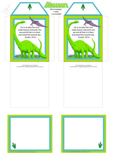 Dinosaur free printable mini envelopes + tiny note cards A4