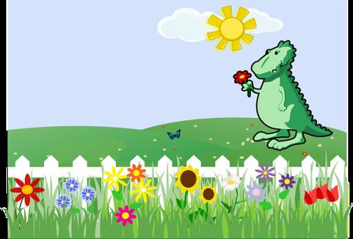 dinosaur in garden