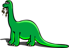 dinosaur eating green plant