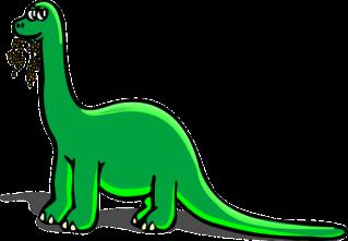 dinosaur eating green plant