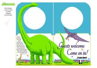 Dinosaur free printable Door Hanger for kids