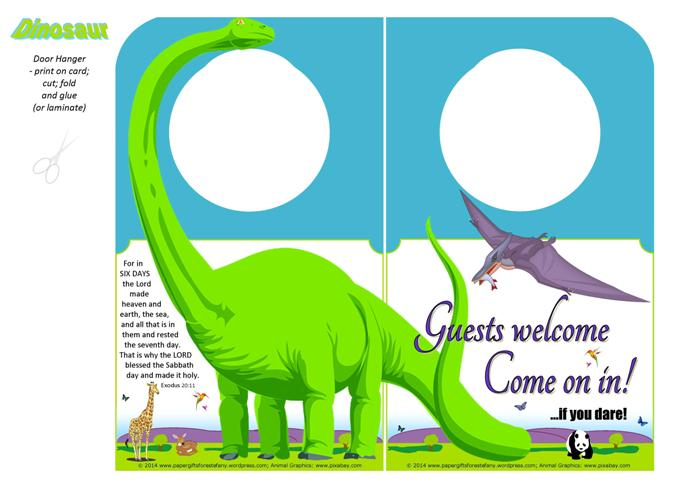 Dinosaur free printable Door Hanger for kids