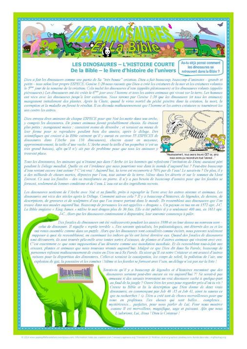 FRENCH Dinosaur Article for Kids A4 (free printable)