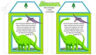 FRENCH Dinosaur free printable mini envelopes + note cards A4