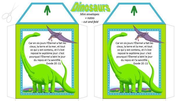 FRENCH Dinosaur free printable mini envelopes + note cards A4