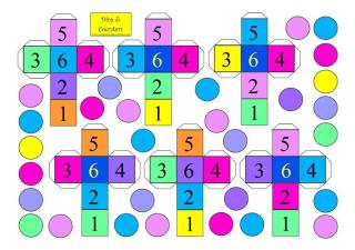 free printable board game colorful dice and counters for kids