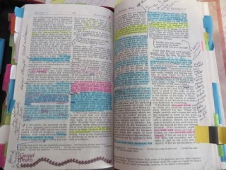 Bible with lots of markings
