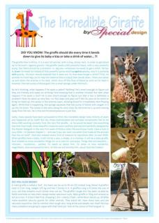 Giraffe free printable article for kids giving glory to God as creator