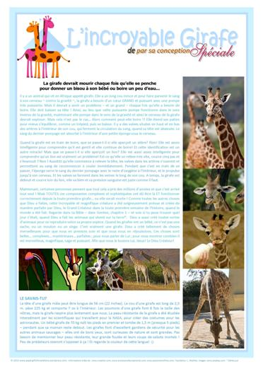 FRENCH Giraffe free printable article for kids
