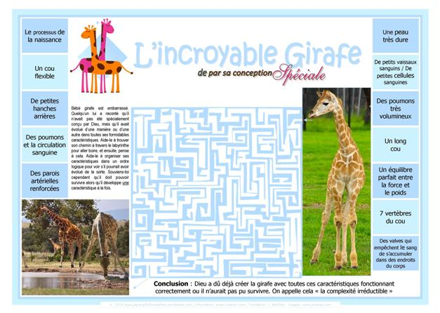 FRENCH Giraffe maze for kids (free printable)
