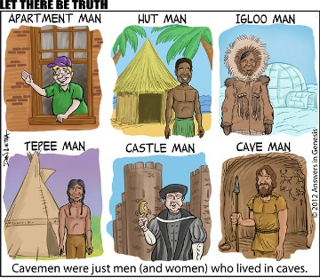 Who were the cavemen? Cartoon from Answers in Genesis; free printable