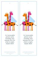 Giraffe Free Printable Bookmark 4x6