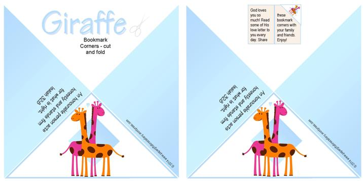 Giraffe Free Printable Bookmark Corners for Kids A4