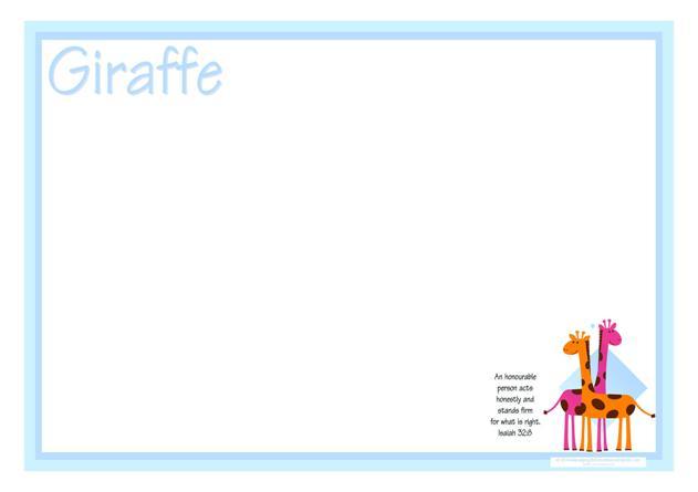 Giraffe Free Printable Coloring Frame A4