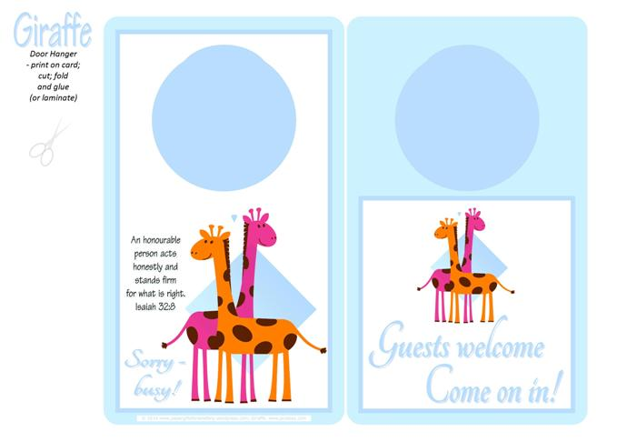 Giraffe Free Printable Door Hanger for Kids A4