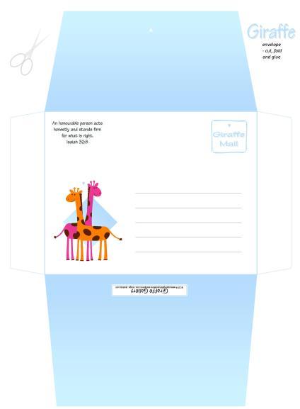 Giraffe Free Printable Envelope A4