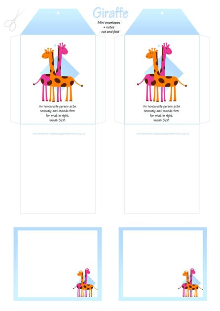Giraffe free printable mini envelopes + note cards for kids A4