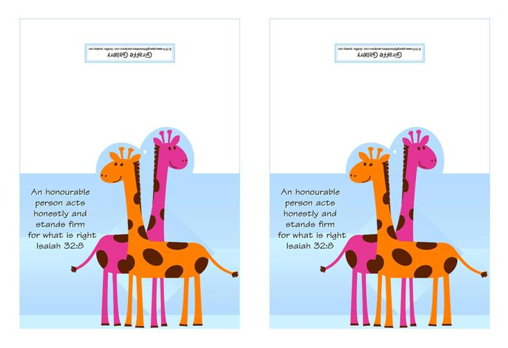 Giraffe Free Printable Note Cards for Kids A4