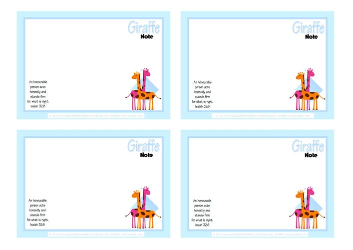 Giraffe Free Printable Notepaper for Kids A4